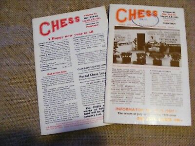 "2 copies of ""Chess"" Magazine from 1976 & 77. Sutton Coldfield. Ed B H Wood. VGC"