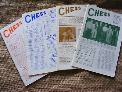 "4 copies of ""Chess"" Magazine from 1982. Sutton Coldfield. Ed B H Wood. VGC"
