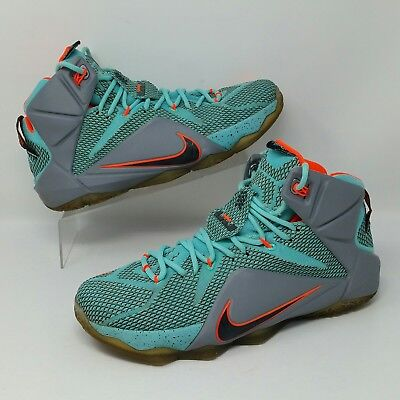 8e2d6e1bada0 Nike Lebron James XII 12 (Men s Size 11) Basketball Sneaker Shoes Teal  Orange
