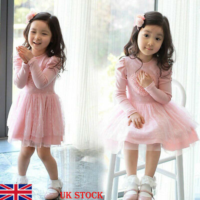 UK Stock Kids Baby Girls Velvet Tutu Lace Dress Toddler Princess Party Dresses