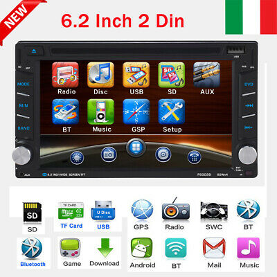 "6.2"" 2Din Auto Cd Dvd Lettore Stereo Autoradio Gps Bt Mp5 Usb Sd Fm Gps Aux Tf"