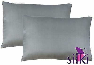 1 Pair: GREY 100% MULBERRY PURE SILK PILLOW CASES COVER 25 momme Queen Standard