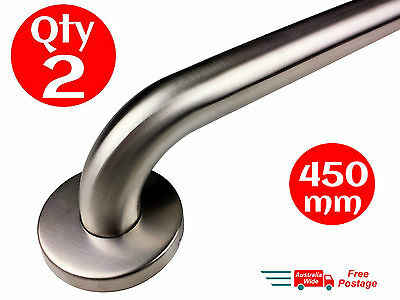 2x SAFETY RAIL 450mm GRAB BAR STAINLESS STEEL PULL HANDLE HAND BATHROOM HANDRAIL