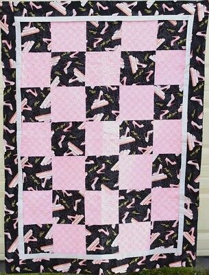 """Handmade Quilt - Pink High Heels on Black-54"""" x 40"""" - Glitzy and Girly"""