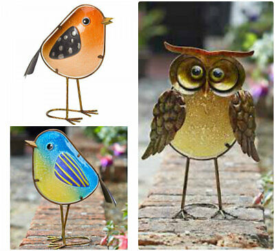 Novelty Colourful Metal And Stained Glass Bird Home Or Garden Ornaments Robin