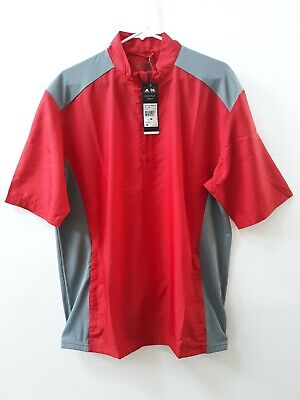 563243929e17a  new  Mens Adidas Golf Red Xl Extra Large Pullover Adiclub Wndbreaker Msrp   70