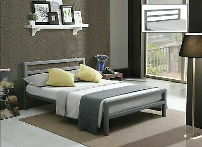 City Block Grey Metal Bed Extra Strong Modern Style Single Double King Size