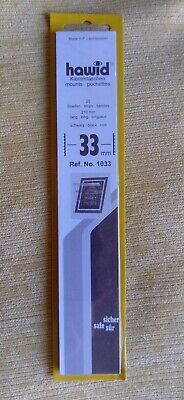 Hawid stamp mounts BLACK backed pack of 25 strips 33mm high x 210mm long. New