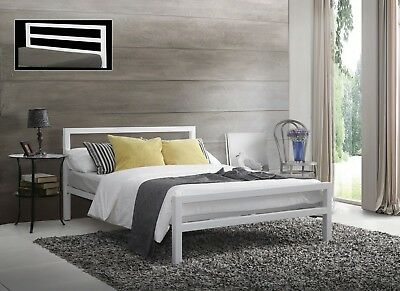 City Block White Metal Bed Extra Strong Modern Style Single Double King Size
