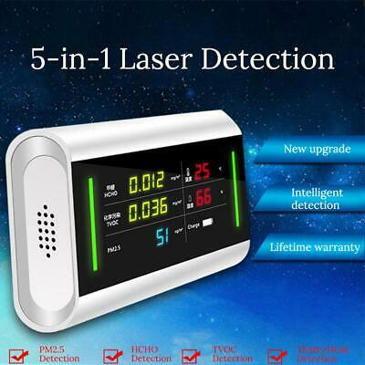 Air Quality Detector Dust Sensor LCD Display Monitor 5 IN 1 PM2.5 HCHO TVOC