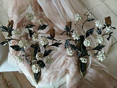 Pair of French White Porcelain Flowers Shabby Antique Tole Candelabra Sconces