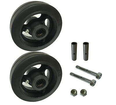 """2 Caster Wheels Set 4"""" 5"""" 6"""" 8"""" Rubber on Cast Iron Wheel Set with Bearing & Kit"""