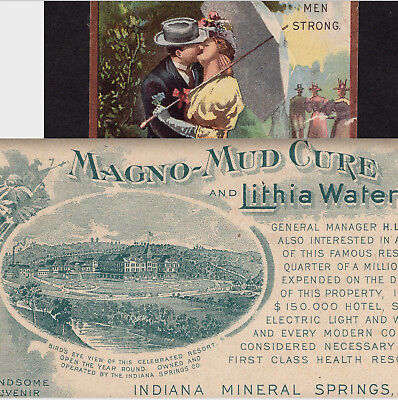 Magno-Mud Bath Cure Indiana Mineral Spring Lithia Water Hotel Health Resort Card