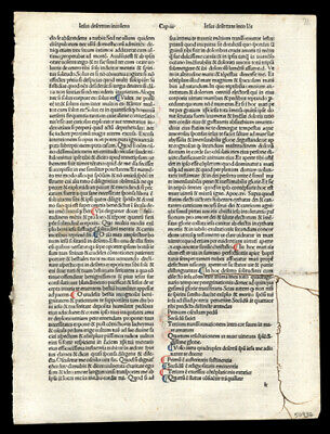 Colorful  Incunable Leaf  Meditation Passion of Our Lord Hand-Colored Letters
