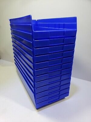 "Akro-Mils Plastic Shelf Bin, 8-3/8""W x 17-7/8""D x 4""H Blue, Lot of 12 New in box"