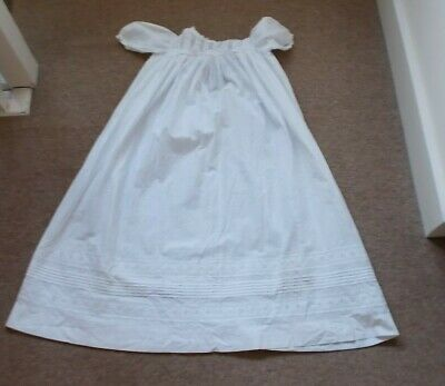 Vintage  Broderie Anglaise Christening Gown White Cotton