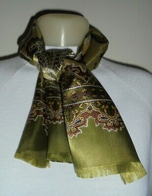 50/60's Olive Green Paisley Print Satin Scarf - true vintage,clean,rayon