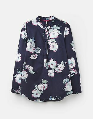 Joules Womens 203906 Ruffle Collar Pop Over Shirt in FRENCH NAVY POPPY