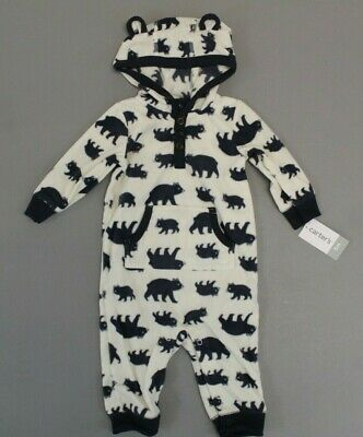 a1ccc821a CARTER S BABY BOY Hooded Fleece Jumpsuit Coverall Stripe Bear 9 ...