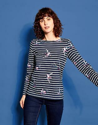 Joules Womens Harbour Printed Jersey Top Shirt in FRENCH NAVY SWALLOWS STRIPE
