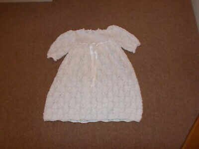 long white hand knitted christening gown with ribbon bow decor