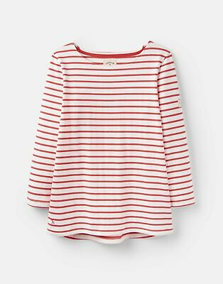 Joules 205891 3 4 Length Sleeve Jersey Striped Top in Cream AND RED SKY STRIPE