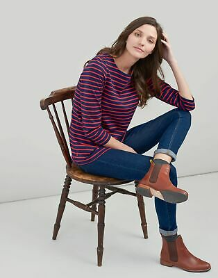 Joules Womens Harbour Jersey Top Shirt in NAVY RED STRIPE