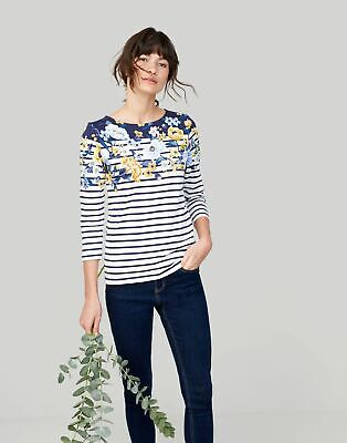 Joules Womens Harbour Printed Jersey Top Shirt in CREAM STRIPE FLORAL