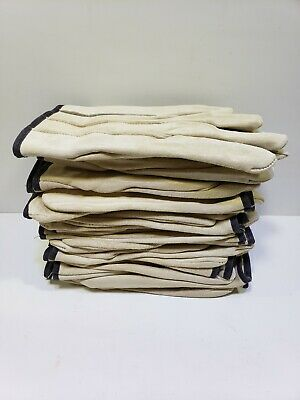 Men's Beige Leather Work Drivers Gloves Unlined Size X Large 12Pair Box New