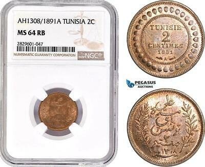 AD241, Tunisia, 2 Centimes AH1308 / 1891-A, Paris, NGC MS64RB, Pop 3/3