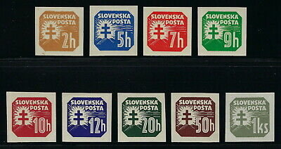 Slovakia WWII 1939-41 Imperf Unwatermarked Newspaper Stamp Complete Set VF MNH!