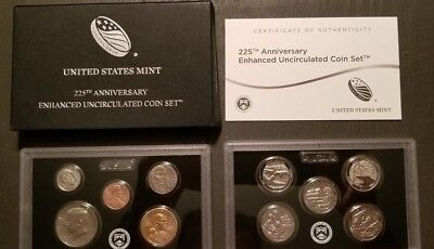 2017-S SOLD OUT 225th Anniversary Enhanced Uncirculated Coin Set in OGP+COA 17XC