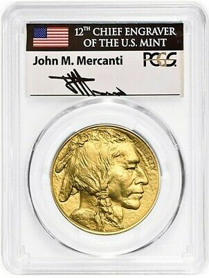 2019 $50 Gold Buffalo MS70 PCGS First Day of Issue John Mercanti Flag Label