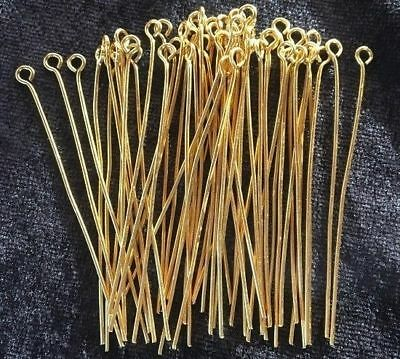 Eye Pins - Gold - 50mm - 50 Pieces - New