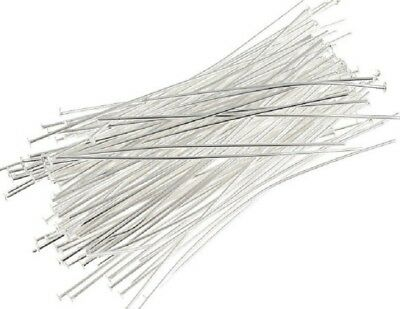 Head Pins - Bright Silver - 50Mm - 200 Pieces - New