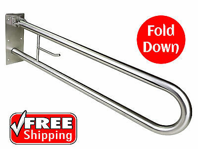 Fold Up Safety Rail Grab Bar Disabled Toilet Stainless Toilet Roll Holder