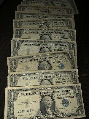 Lot of 9 Old 1957a One $1 Dollar Bill Silver Certificates VG-VF Vintage US Notes
