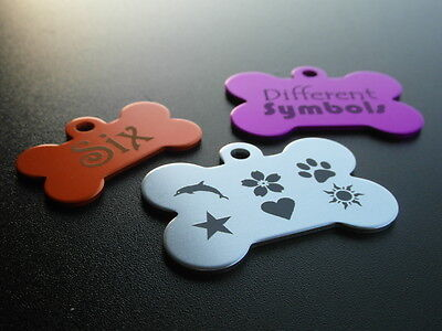 Aluminium BONE Pet ID Name Tag With Personalised Engraving, Dog, Cat, Puppy!