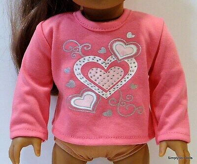 """PINK w/ Silver & White HEARTS LS DOLL SHIRT fits 18"""" AMERICAN GIRL Doll Clothes"""