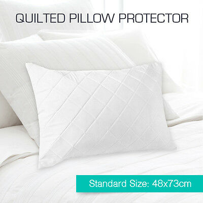 Quality Aus Made Quilted Pillow Protectors Case Zipper Cotton Cover-48cm x 73cm