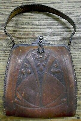 ANTQ Tooled Leather Art Nouveau Arts & Crafts Purse
