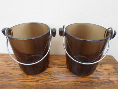 Vintage French pair of mini ice coolers, retro brown smoked glass, 1970s, Lever