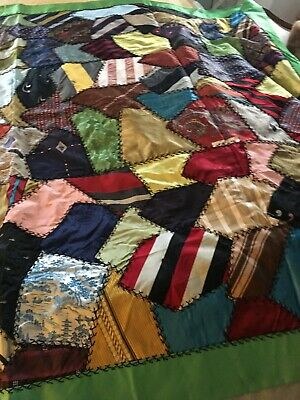 Vintage Crazy Quilt Made From Silk Men's Ties And Fabric
