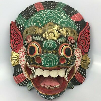 Vintage Wooden Asian Mask Wall Art Wood Hand Carved Dragon gold red