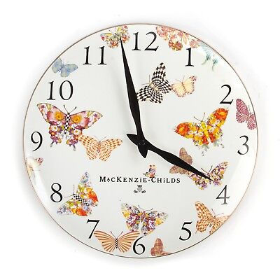 "Mackenzie Childs 12"" White BUTTERFLY GARDEN CLOCK Hand Decorated NEW in BOX"