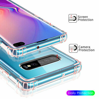 For Samsung Galaxy S10 S10+, Shockproof Soft Frame Crystal Clear Hard Case Cover