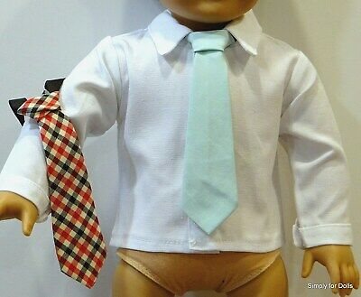 """WHITE Button-Up BOY'S DOLL Dress-Up SHIRT w/2 TIES fits 18"""" AMERICAN GIRL DOLL D"""