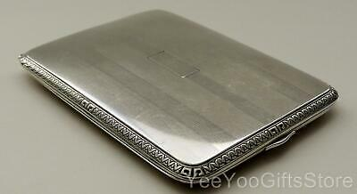 OLD & FINE European STERLING SILVER striped CIGARETTE/card CASE-box