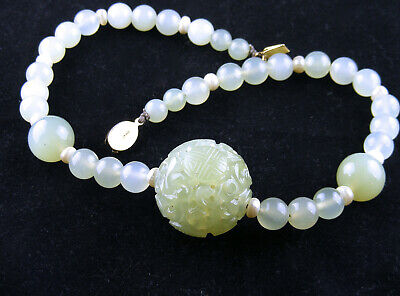 Magnificent Vintage Chinese Export Celadon Jade & Freshwater Pearl Necklace