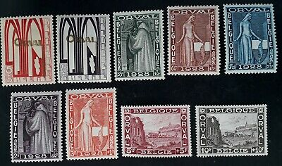RARE 1928 Belgium set of 9 Orval Abbey Charity stamps Mint/MUH